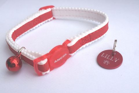 ANCOL REFLECTIVE RED SAFETY RELEASE CAT COLLAR WITH RED TAG ENGRAVED BOTH SIDES